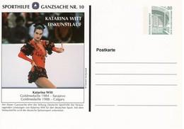 Duitsland, Geïllustreerde Postkaart,  Ganzsache Sporthilfe 10   -  Katarina Witt  Ongebruikt - Geïllustreerde Postkaarten - Ongebruikt
