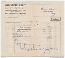 FACTURE 19 JUIN 1952 QUINCAILLERIE HUCHEZ COMPIEGNE POELES CINEY FERS MÉTAUX - Francia