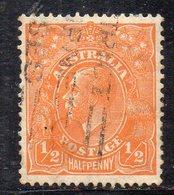 APR1202 - AUSTRALIA , 1/2 P. Yvert N. 77 Usato  (2380A) Fil CofA - 1913-36 George V: Heads