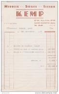 FACTURE 18 NOVEMBRE 1957 KEMP SAINT QUENTIN AISNE MEUBLES SIEGES LITERIE - Francia
