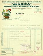 """Facture Decorative Colore 1955 Marseille ( Bouches-du-Rhone ) """" MARPA Conserveries Algero-Marocaines  """" - Levensmiddelen"""