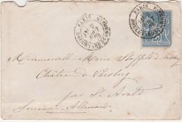 Petite Enveloppe 1878 / à Mlle Stoffels / Château De Varsberg / Près St-Avold 57 / Moselle / Cachet Paris Bd St Germain - France