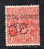 """APR666 - AUSTRALIA , 1 1/2 Pence (yvert Fil V) Con Perfin Rovesciato """"SG""""  (2380A) - 1913-36 George V: Heads"""