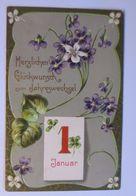 """""""Neujahr, Blumen, Kalender, Jugendstil"""" 1910, Prägekarte ♥  - Neujahr"""