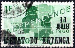 KATANGA, INDIPENDENZA, 1960, 1 F., FRANCOBOLLO USATO Mi:KT 42, Sn:KT 42, Yt:KT 42 - Katanga