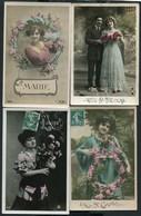 LOT DE 10 CARTES POSTALES ANCIENNES THEME PRENOMS - 5 - 99 Postcards