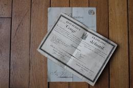 2 Congés Militaire Revolution   Armée Du Rhin   école De Strasbourg Canonnier  Cachet Diplôme - Documentos Históricos