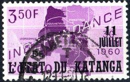 KATANGA, INDIPENDENZA, 1960, 3,50 F., FRANCOBOLLO USATO  Mi:KT 45, Scott:KT 45, Yt:KT 45 - Katanga