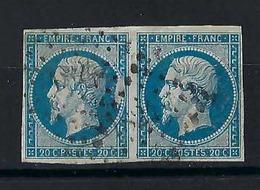 FRANCE 1854:  20 C. Bleu Napoléonn III ND  (Y&T 14A), Paire Horizontale D'oblitérés Losange PC - 1853-1860 Napoléon III