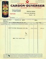 """Facture Decorative Colore 1951 Cambrai ( Nord ) """" CARDON-DUVERGER Chicoree Boulangere - Paquetage Croissant """" - Alimentaire"""