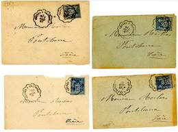 HAUTES ALPES ISERE ENV X 4.1885 1886 1886 1887 VEYNES A GRENOBLE CONVOYEUR SUR SAGE - Marcophilie (Lettres)