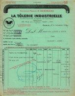 """Facture Decorative 1936 Paris """" H.BERTRAMS La Tôlerie Industrielle """" Specialite De Coudes Plisses Tuyaux Agraffes Rives - Francia"""