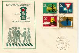 Protection De La Circulation Routière (Panneaux), Série Sur Lettre FDC D'Allemagne - Accidents & Sécurité Routière