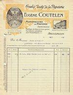 """Facture Decorative Colore 1920 Avignon ( Vaucluse ) """" Eugene COUTELEN Manufacture De Papiers Imprimerie """" - Imprimerie & Papeterie"""