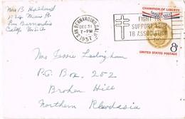 35557. Carta Aerea SAN BERNARDINO (California) 1957. Slogan Pro Tuberculose - Verenigde Staten