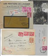 CACHETS HEXAGONAUX De PARIS - LOT De 4 ENVELOPPES/CARTES (3 RECOMMANDES !) TOUTES VOYAGEES - Postmark Collection (Covers)