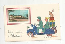 Cp,86 ,bien Arrivés à QUEAUX ,scooter, Illustrateur Jean De Freissac,vierge - France