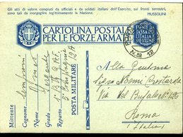 SP40  POSTA MILITARE 12,   CARTOLINA IN  FRANCHIGIA   ,1941 - Posta Militare (PM)