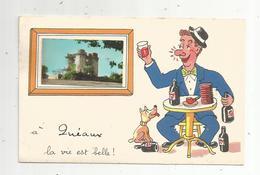 Cp,86 , à QUEAUX La Vie Est Belle , Illustrateur ,vierge - France