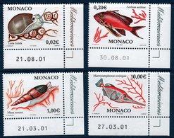 MON 2002  Série Courante : Poissons Et Coquillages   N°YT  2327-2330   ** MNH Coin De Feuille Daté - Monaco