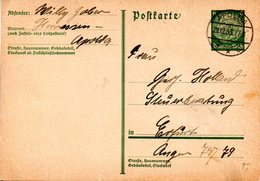 """(L) DR Amtliche Ganzsache P 216 I Postkarte """"Hindenburg Medaillon"""" 6(Pf) Hellgrün TSt 29.12.33 APOLDA Nach Erfurt - Allemagne"""