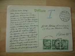 Lettre Taxee Bande De 3 Timbre Chiffre Taxe 60 C A Percevoir Sur Lettre D Allemagne - Marcofilia (sobres)