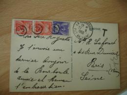 Lettre Taxee 3 Timbre Gerbe Gerbes 10 F Et 4 F Obliteration Petit Cercle  Chiffre 13 - Marcophilie (Lettres)