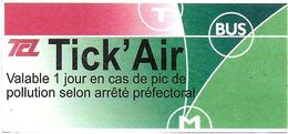 TICKET BILLET TCL SYTRAL LYON 69 RHONE METRO TRAMWAY AUTOBUS TICK'AIR JOURNÉE POLLUTION DU 24/01/2020 VENTE A BORD - Métro