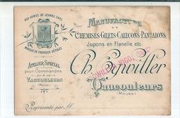 """Carte  Publicitaire  -   Manufacture,  """"  Chemises - Gilets - Caleçons - Pantalons """"  De  VAUCOULEURS    (  Meuse ) - Publicité"""