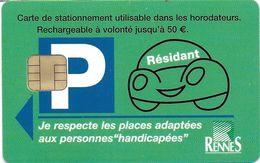 CARTE DE STATIONNEMENT A PUCE CHIP CARD VILLE RENNES  RÉSIDANT  35 ILLE ET VILAINE - Francia