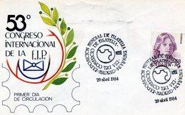 MADRID 53° CONGRESO INTERNACIONA DE LA FIP DIA DEL COMERCIO DE FILATELIA 1984 FDC - NTVG. - 1931-Hoy: 2ª República - ... Juan Carlos I