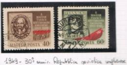 UNGHERIA (HUNGARY)  -  SG  1051.1052   -  1949 HUNGARIAN SOVIET REPUBLIC ANNIV.  (COMPLET SET OF 2)    - USED° -  RIF.CP - Usati