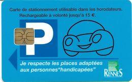CARTE DE STATIONNEMENT A PUCE CHIP CARD VILLE RENNES 15 € 35 ILLE ET VILAINE - Francia