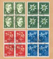 PRO/J. SERIE BLOCS DE 4 OBLITERES 1944 C/.S.B.K. Nr:J109/J112. Y&TELLIER Nr:399/402. MICHEL Nr439/442. - Pro Juventute