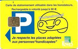 CARTE DE STATIONNEMENT A PUCE CHIP CARD VILLE RENNES PROFESSIONNEL 35 ILLE ET VILAINE - Francia