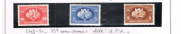UNGHERIA (HUNGARY)  -  SG  1069.1071  -  1949  U.P.U. ANNIVERSARY (COMPLET SET OF 3)    -  UNUSED* -  RIF.CP - Nuovi