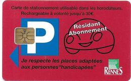 CARTE DE STATIONNEMENT A PUCE CHIP CARD VILLE RENNES RÉSIDENT ABONNEMENT 35 ILLE ET VILAINE - Francia