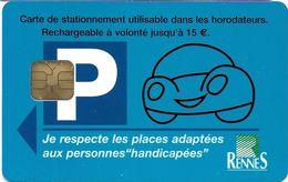 CARTE DE STATIONNEMENT A PUCE CHIP CARD VILLE RENNES  35 ILLE ET VILAINE - Francia