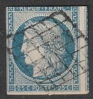 France 1849-1850 N° 4 Cérès Filet Du Haut Touché - 1849-1850 Cérès