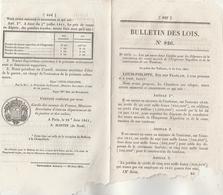 Bulletin Des Lois 826 De 1841 Construction Tombeau Et Statue De Napoléon - Prix Des Poudres Royales En Algérie - Décrets & Lois