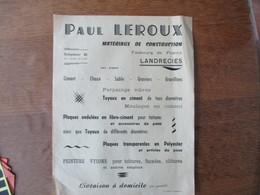 LANDRECIES  PAUL LEROUX MATERIAUX DE CONSTRUCTION FAUBOURG DE FRANCE PUBLICITE - 1950 - ...