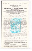 DP Arthur Vermeulen ° Poperinge 1871 † Kortrijk 1938 X Victorine Grymonprez - Devotion Images