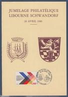 = Encart Double Jumelage Libourne-Schwandorf N°1739 Libourne 20 Avril 1986 Et Photo Souvenir - Poststempel (Briefe)