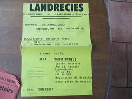 LANDRECIES  KERMESSE DU FAUBOURG SOYERES SAMEDI 28 JUIN ET DIMANCHE 29 JUIN 1980 JEUX TRADITIONNELS 42cm/29,5cm - Affiches