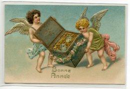ANGES 019  Petits Anges Ouvrant Coffret Pièces D'Or CARTE GAUFREE  Bonne Année 1908 écrite Timbrée - Angels