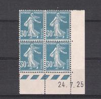 1925  - BLOC DE 4 TIMBRES NEUFS  N° 192 - TYPE SEMEUSE FOND PLEIN   COIN DATE  24 / 7 / 25   - COTE 40 EUROS - ....-1929
