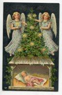 ANGES 046 Jeunes Filles Anges Au Dessus De La Creche Joyeux Noel  CARTE GAUFREE   1907 Timb - Angeli