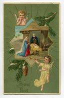 ANGES 051 Petits Anges Veillant La Creche Joyeux Noel 1910 écrite Timbrée - Angeli
