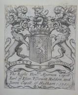 Ex-libris Héraldique Illustré XVIIIème - BARON CAPELL OF HADHAM - 1701 - Ex-libris