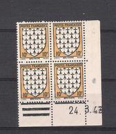 "1943  - BLOC DE 4 TIMBRES NEUFS  N° 573 - TYPE ARMOIRIES DE PROVINCE  ""BRETAGNE""   DATE  24 / 8 / 43 - COTE 4 EUROS - Angoli Datati"